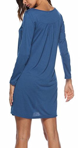 Domple Loose Solid Casual Dress Round Sleeve Pleated Long Neck Light Blue Womens BqBnfHA