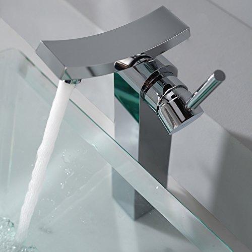 Kraus C-GVS-901-19mm-14300CH Clear Aquamarine Glass Vessel Sink and Unicus Faucet Chrome