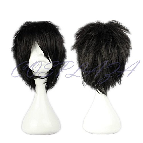 COSPLAZA Cosplay Wig Short Spiky Black Heat Resistant Synthetic Hair -
