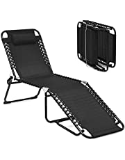GYMAX Adjustable Chaise Lounge, Folding Lightweight Patio Recliner with Removable Pillow, Poolside Beach Sunbathing Chair for Outdoor/Indoor (1, Black)