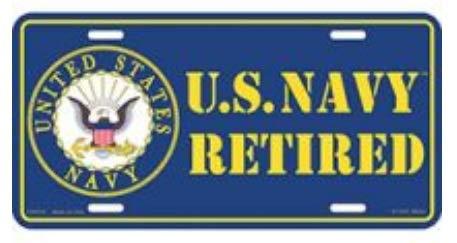 EE, Inc. License Plate - USN U.S. Navy - United States Navy Retired Eagle Seal Logo ()