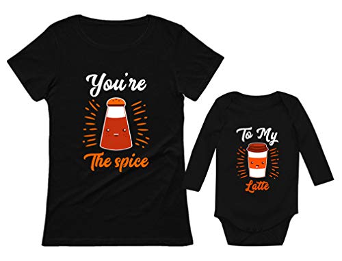 Your'e The Spice to My Latte Mom & Baby Matching Halloween Set Shirt & Bodysuit Mom Spice Black Small/Baby Latte Black 18M (12-18M) ()