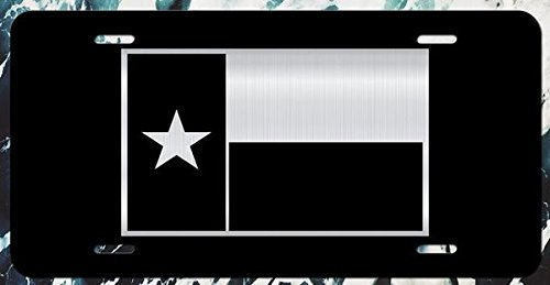 (JMM Ind Texas Flag Vanity License Plate | 12-Inches by 6-Inches | Lone Star State | Etched AlUminum | UV Resistant | ELP015)