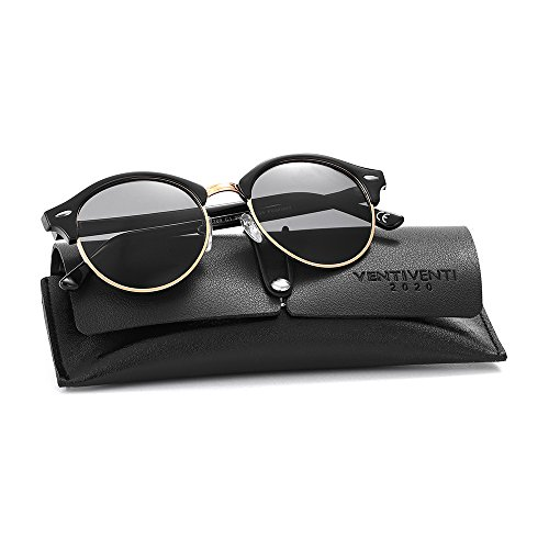 2020Ventiventi Stainless Steel Sunglasses for Men/Woen Polarized Round Lens Half Frame with Sun Glasses Case UV400 for Driving PL269(C01 - Sunglasses Round Dark Black