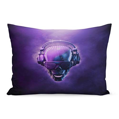 Semtomn Throw Pillow Covers Purple Hip Disco Ball Skull 3D of Shaped Mirror Headphones and Shaded Glasses Blue Hop Pillow Case Cushion Cover Lumbar Pillowcase for Couch Sofa 20 x 26 inchs ()