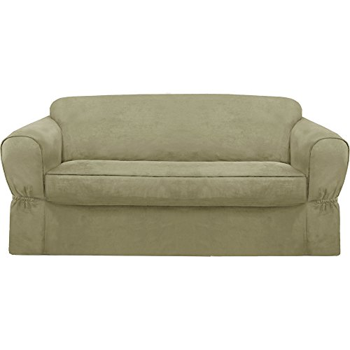 - MAYTEX Piped Suede 2-Piece Sofa Furniture Cover/Slipcover, Sage