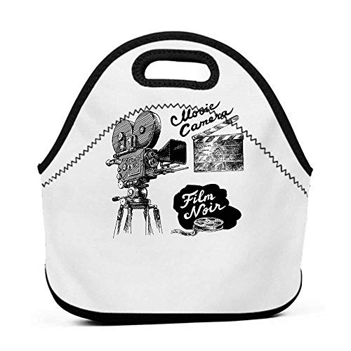 Convenient Lunch Box Tote Bag Movie Theater,Antique Movie Camera Hand Drawn Style Art Collection Film Noir Genre Theme,Black White,bento box and lunch bag for kids