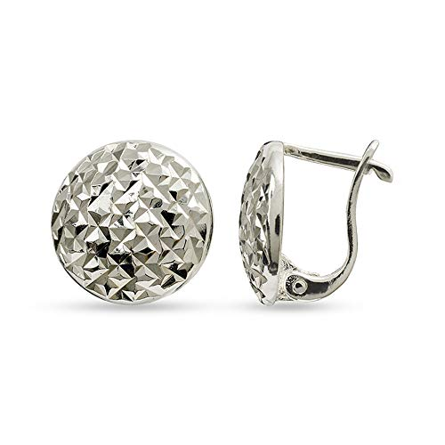 LeCalla Sterling Silver Jewelry Half Round Post With Click Lock Earring for Women ()