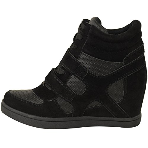 Fashion Thirsty Womens Hi Top Wedge Sneakers Trainers Sport Ankle Boots Size Black Faux Suede / Faux Leather zXuOAgCgA