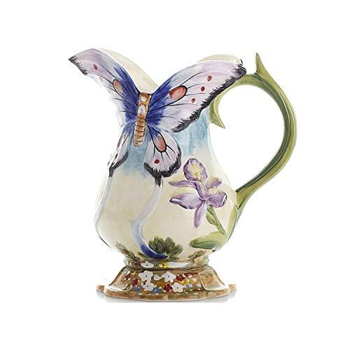 Blue-shore Ceramic vase Ornaments Gardens Pastoral Flowers Butterfly vases Simple Milk jar vase,Butterfly vase x1