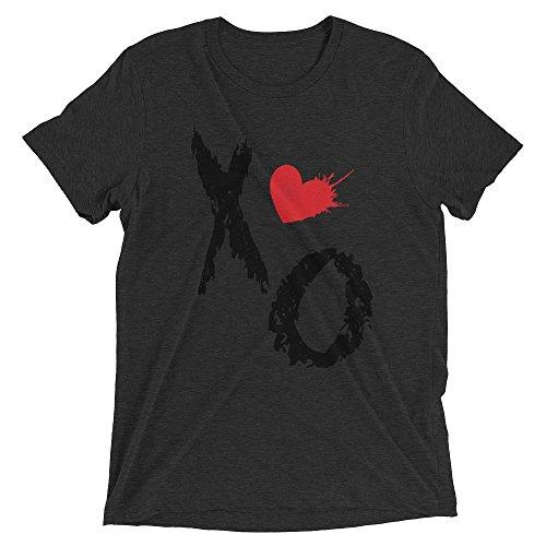Ground 29 XO Heart Tri-blend Women's Short Sleeve T-shirt_Charcoal - Black Triblend_4X-Large