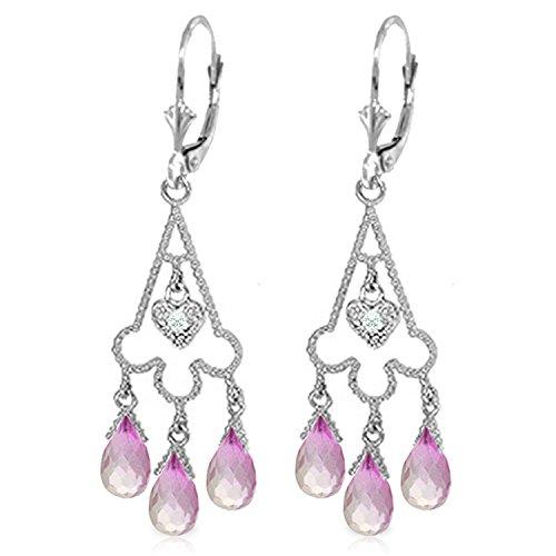 (4.83 CTW 14K Solid White Gold Chandelier Diamond Earrings Pink Topaz)