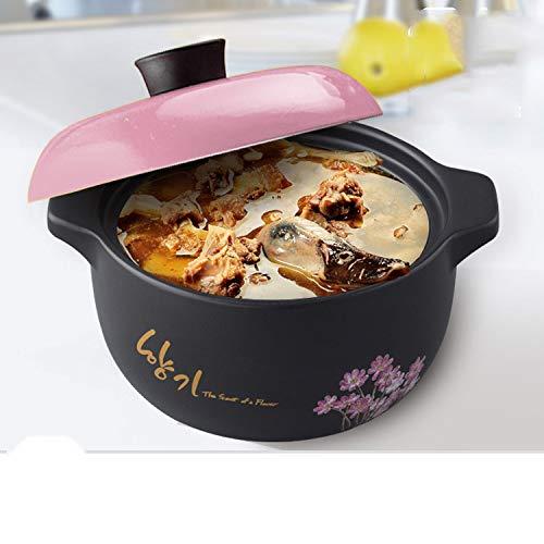 GJJ High Temperature Heat-.Resistant Ceramic Soup Pot Casserole, Natural Health Casserole, Pot Ceramic Pot,Black,3 Liters by GJJ (Image #3)