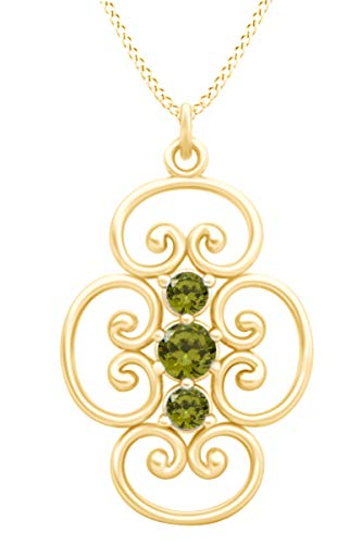 AFFY Round Cut Simulated Peridot Three Stone Filigree Lace Pendant Necklace in 14k Yellow Gold Over Sterling Silver