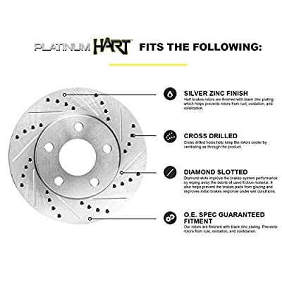Fit 2008-2010 Hyundai Sonata HartBrakes Full Kit Brake Rotors Kit+Ceramic Brake Pads: Automotive