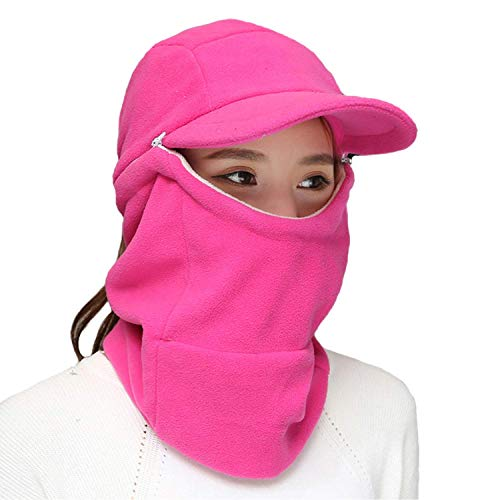 (Winter 3 In 1 Full Face Hood Ski Mask Baseball Beanie Cap Scarf Neck Warmer for Motorcycle Cycling Skiing, Womens Mens Windproof Warm Fleece Hoodie Trapper Bomber Hats Cold Weather Helmet (Rose Red))
