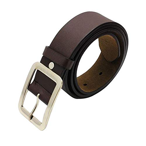 (Man Leather Belt Fashion Designer Solid Color Casual Faux Strap Waistbelts Band With Single Prong Buckle (Coffee))