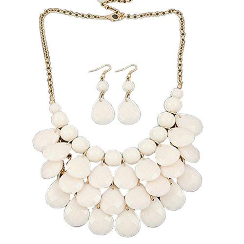 Rafiki Costume (IebeautyFashion Jewelry Crystal Choker Chain Chunky Statement Necklace Bib Pendant (white))