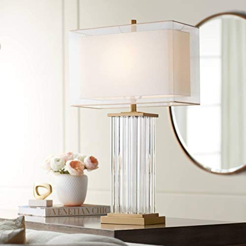 - Darcia Modern Table Lamp Crystal and Metal Rectangular Column White Linen Double Shade for Living Room Family Office - Vienna Full Spectrum