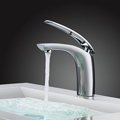 Homelody® VerchromtWasserhahn Waschbecken Armatur Bad Waschtischarmatur Waschbeckenarmatur Einhebelmischer Mischbatterie Badarmatur fürBadzimmer