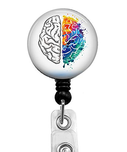 - Left and Right Hemisphere of Human Brain Badge Reel, Retractable Name Card Badge Holder with Alligator Clip, 24in Nylon Cord, Medical MD RN Nurse Badge ID, Badge Holder, Office Employee Name Badge