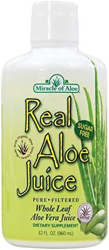 Real Aloe Whole-Leaf Pure Aloe Vera Juice - Made from Organically Grown Aloe Vera Leaves Purified & Filtered (1 Quart)