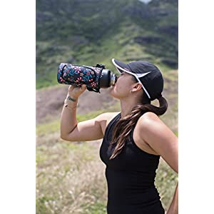 RoryTory 32oz or 40oz Hydro Flask Water Bottle Carrier Pouch Sleeve with Pocket & Shoulder Strap Carrying Handle - Flower Design