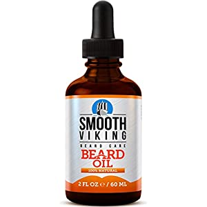 Smooth Viking Beard Oil for Men Use with Balm & Conditioner for the Best Facial Hair Grooming Kit, 2 oz