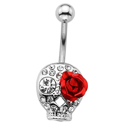 Gothic Navel Rings - JOVIVI 14G Surgical Steel Rhinestone Crystal Silver Skull Red Rose Navel Belly Button Ring Body Jewelry Piercing