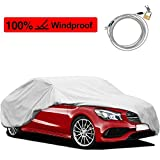 KAKIT Car Cover Waterproof All Weather, 2 Layers UV Protection Universal Sedan Car Covers with Free Windproof Ribbon & Anti-Theft Lock for Full Size Sedan Cars Automobiles Fits 200' - 229'
