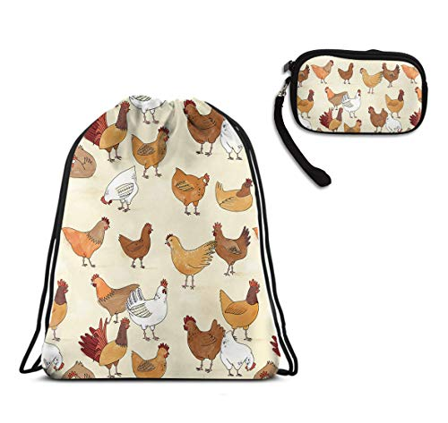 Mens Women Swim Sport Drawstring Backpack, Large A Brood Of Chickens Gymsack Sackpack, Waterproof, Home Travel Storage Use + Zipper Pouch Bag With Handle ()