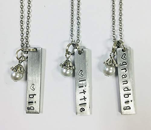 Big, Little & Grandbig Bar Pendants Sorority Greek Necklace Set - Handstamped Bar Charms with a Glass Pearl Dangle accent on an 18 inch stainless steel link chain
