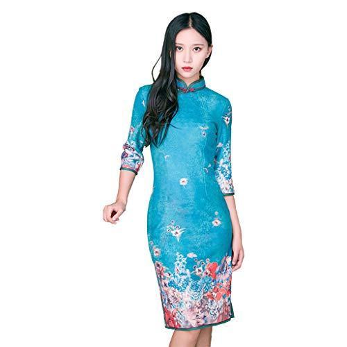 In Il Yaotiao Stile Lungo Banchetto Ragazza Donna Inverno Retrò Abito Miglioramento Tessuto E Blu Cinese Cheongsam Autunno Caldo È Quotidiano Morbido wrxZq7wBO