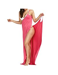 happy memories Womens Sexy Deep V-Necklin Maxi Backless Beach Dress Bikini Wrap Long