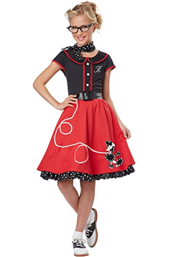 California Costumes Child's 50's Sweetheart Costume, Red/Black, Medium