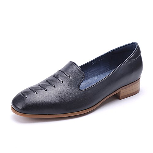 shop new for sale Mona Flying Women Leather Slip-on Loafers Shoes for Women Handmade Original Lady Flats Shoes Blue 3 unkXjJFHrY
