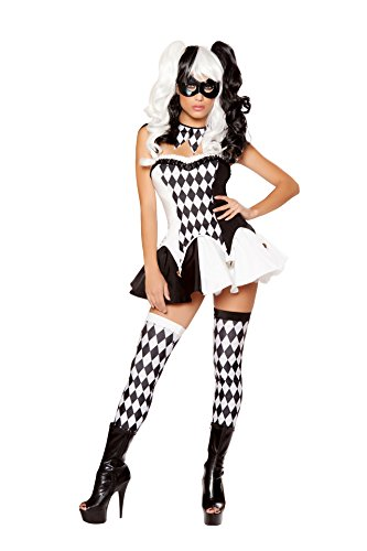 Fest Threads 4 PC Court Jester Harlequin Black & White Top and Skirt w/Neckpiece Costume for $<!--$50.15-->