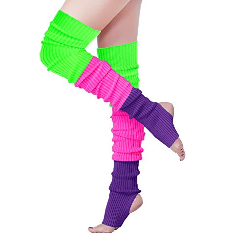 V28 Women 80s Ribbed Knit Stirrup Neon Dance Sports Yoga Long Leg Warmers(One Size, ()