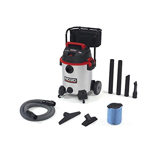 Cheap RIDGID 50353 1610RV Stainless Steel Wet Dry Vacuum, 16-Gallon Shop Vacuum with Cart, 6.5 Peak HP Motor, Large Wheels, Pro Hose, Drain, Blower Port