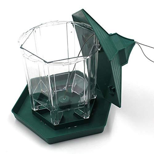 - Practical Plastic Hexagonal-Shape Bird Feeder Transparent Window Viewing Hanging Bird Feeder Table Seed Peanut Hanging Gazebo