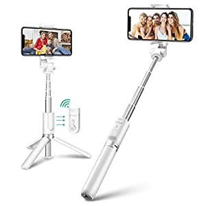 BlitzWolf Bluetooth Selfie Stick Tripod, Extendable Phone Tripod Selfie Stick with Wireless Remote and Mini Pocket Selfie Stick for iPhone 11/11 Pro/XR/XS/X, Galaxy S10/S9/Note 10/9, Huawei and More