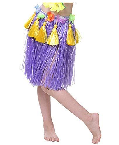 (Kids Girls Hawaiian Hula Dancer Grass Skirt with Flower Waistband Dance Performance Party Decorations Favors Supplies)