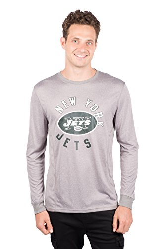ICER Brands NFL New York Jets T-Shirt Athletic Quick Dry Long Sleeve Tee Shirt, X-Large, Gray