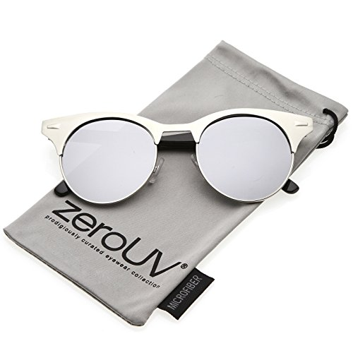 zeroUV - Women's Matte Finish Horn Rimmed Round Flat Mirror Lens Cat Eye Sunglasses 49mm (Silver-Black / Silver - Mirror Finish Sunglasses Silver