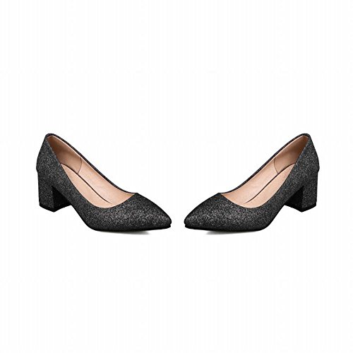 Charm Foot Womens Fashion Sequins Pointed Toe Chunky Heel Pump Shoes Black YiKgPlLO