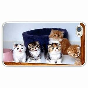 iPhone 4 4S Black Hardshell Case kittens screaming many fluffy White Desin Images Protector Back Cover