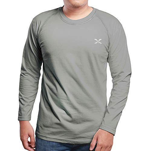 Men's Long Sleeve Tops Cool Dry Performance T-Shirt Grey M