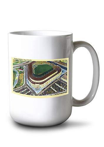 Lantern Press New York, New York - Aerial View of Yankee Stadium (15oz White Ceramic Mug)
