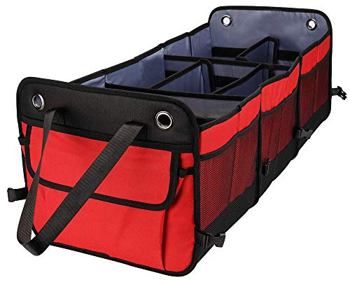Cutequeen Trunk Organizer Back Seat Protector Storage Organizer Multi Compartments Collapsible Portable for SUV Car Truck Auto Red and Black(Pack of 1) (Trunk Organizer, Red)