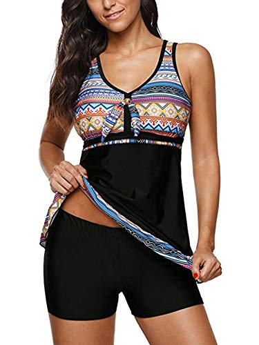 (Century Star Women's Two Piece Tummy Control Swimsuit Paisley Printed Tankini Spaghetti Strap Swimwear with Boyshorts Slim Black Orange Large (fits like US 10-12))
